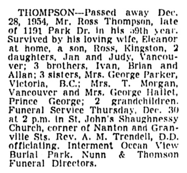Ross Thompson - death notice - Vancouver Province - December 28 1954 - page 25 - column 5