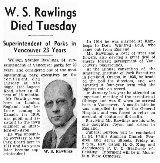 William Stanley Rawlings - obituary - Vancouver Sun - August 11 1937 - page 3 - column 3