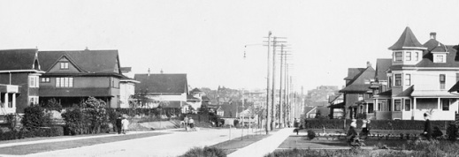 1900 Block of Nelson Street - looking east - 1908 - detail from View of the 1900 Block and 2000 Block of Nelson Street - Vancouver City Archives - PAN P103