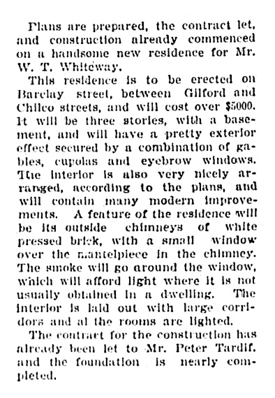 1949 Barclay Street - W T Whiteway - archited - Peter Tardif - contractor - Vancouver Province - September 25 1903 - page 1 - column 6