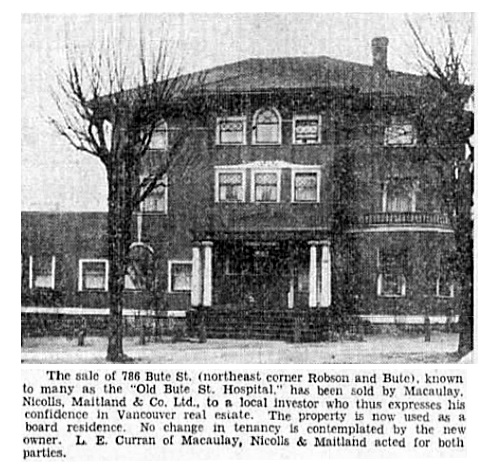 786 Bute Street - An Old Landmark Changes Hands - Vancouver Sun - December 18 1937 - page 23 - columns 4-5
