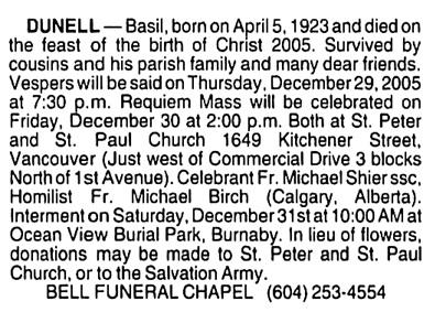 Basil Dunell - death notice - Vancouver Province - December 28 2005 - page C31 - column 2