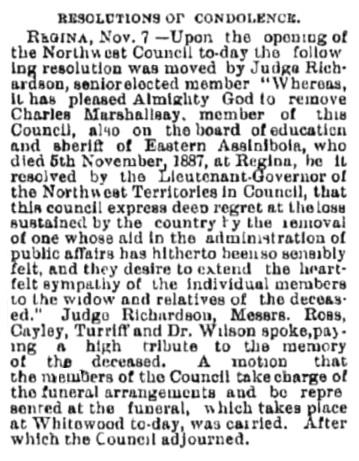 Charles Marshallsay - death - Manitoba Free Press - Winnipeg - Manitoba - November 8 1887 - page 1