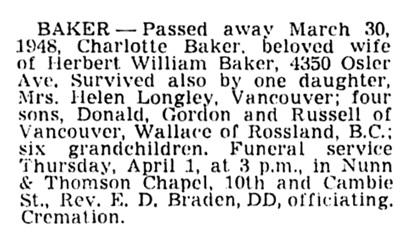 Charlotte Baker - death notice - Vancouver Sun - April 1 1948 - page 21 - column 3