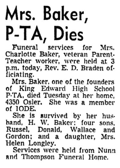 Charlotte Baker - obituary - Vancouver Sun - April 1 1948 - page 3 - column 1