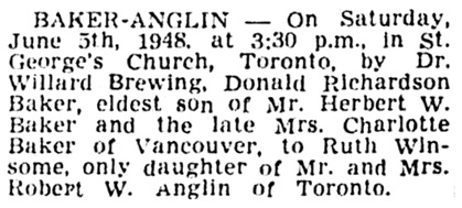 Donald Richardson Baker and Ruth Winsome Anglin - marriage - Vancouver Province - June 12 1948 - page 29 - column 2