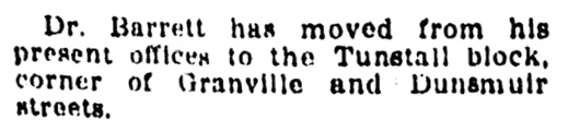 Dr Barrett - move to Tunstall block - Vancouver Province - October 4 1910 - page 28 - column 2