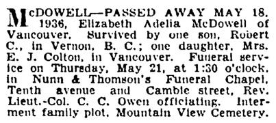 Elizabeth Adelia McDowell - death notice - Vancouver Province - May 19 1936 - page 13 - column 2