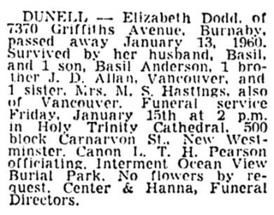 Elizabeth Dodd Dunell - death notice - Vancouver Sun - January 15 1960 - page 37 - column 3