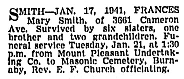 Frances Mary Smith - death notice - Vancouver Sun - January 18 1941 - page 18 - column 1