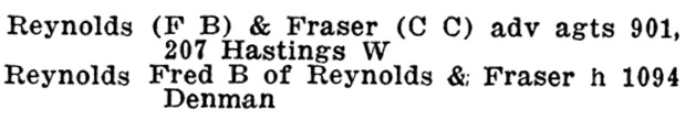 Fred B Reynolds - Henderson's Greater Vancouver Directory - 1912 - Part 2 - page 1141