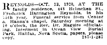 Frederick Harrington Reynolds - death notice - Vancouver Sun - October 15 1920 - page 10 - column 1