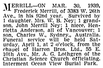 Frederick Merrill - death notice - Vancouver Province - March 30 1939 - page 17 - column 2