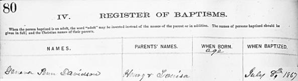 Geneva Penn Davidson - baptism date - January 6 1868