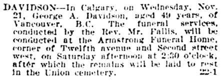 Calgary Herald, November 22, 1917, page 3, column 1.