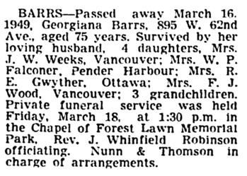 Georgiana Barrs - death notice - Vancouver Sun - March 19 1949 - page 31 - column 4