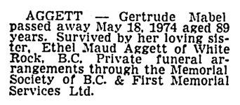 Gertrude Mabel Aggett - death notice - Vancouver Sun - May 21 1974, page 57 - column 1