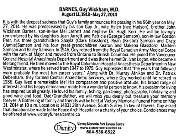 Guy Wickham Barnes - death notice - Vancouver Sun - May 30 2014 - page B8 - columns 2-3