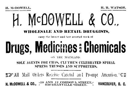H McDowell and Company - advertisement - Vancouver Daily World - October 17 1892 - page 2 - columns 4-5
