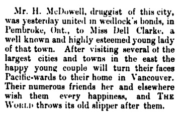 H McDowell and Dell Clarke - marriage - Vancouver Daily World - September 4 1890 - page 1 - column 8