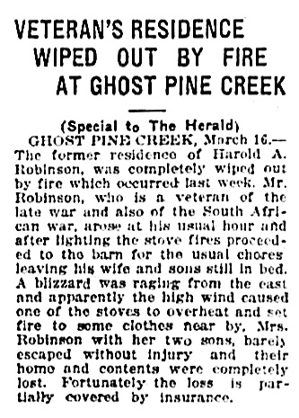 Harold A Robinson - fire - house destroyed - Calgary Herald - March 16 1921 - page 18 - column 7