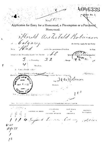 Harold Archibald Robinson - homestead application- May 8 1918 - Ghost Pine Creek - Alberta