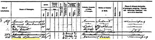 Ancestry.com. Canadian Passenger Lists, 1865-1935 [database on-line]. Provo, UT, USA: Ancestry.com Operations Inc, 2010. Library and Archives Canada; Ottawa, Ontario, Canada; Series: RG 76-C; Roll: T-496. Name: Harold Robinson; Gender: Male; Arrival Age: 24; Birth Year: abt 1879; Departure Port: Liverpool, England; Arrival Date: 23 Mar 1903; Arrival Port: Halifax, Nova Scotia, Canada and St John, New Brunswick, Canada; Vessel: Corinthian.