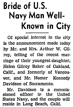 Helen Gilroy Baker and Homer Kennedy Davidson - marriage - Vancouver Sun - April 6 1940 - page 14 - column 4