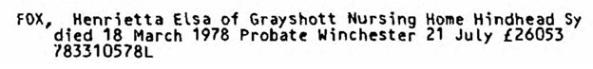 Henrietta Elsa Fox - death date - March 18 1978