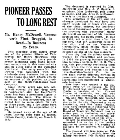 Henry McDowell - obitury - Vancouver Daily World - February 7 1917 - page 4 - column 2
