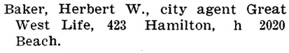 Herbert W Baker - Henderson's City of Vancouver Directory - 1905 - page 169
