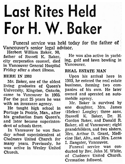 Herbert William Baker - obituary - Vancouver Sun - August 18 1959 - page 37 - columns 7-8