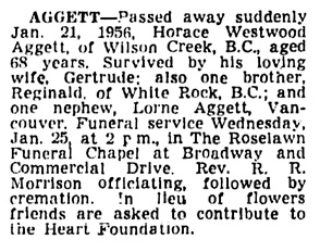 Horace Westwood Aggett - death notice - Vancouver Province - January 24 1956 - page 26 - column 2