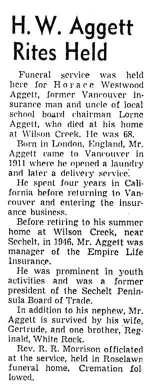 Horace Westwood Aggett - obituary - Vancouver Sun - January 28 1956 - page 49 - column 3