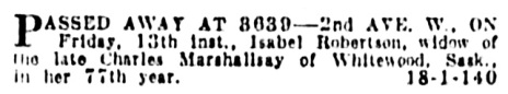 Isabella Robertson Marshallsay - death notice - Vancouver Province - August 15 1926 - page 21 - column 2