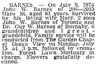 John W Barnes - death notice - Vancouver Sun - July 13 1974 - page 42 - column 3