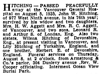 John W Hitching - death notice - Vancouver Province - August 6 1935 - page 13 - column 2