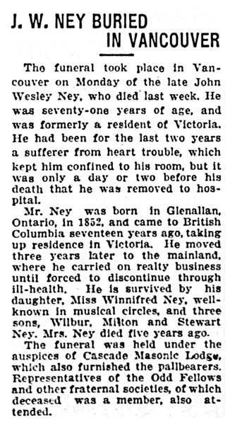 John Wesley Ney - obituary - Victoria Daily Times - September 26 1923 - page 2 - column 4