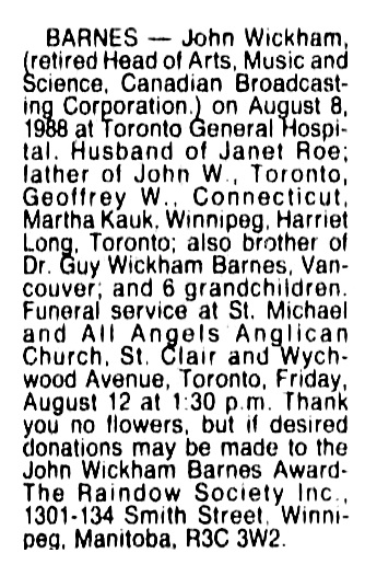 John Wickham Barnes - death notice - Vancouver Sun - August 9 1988 - page E1 - column 6