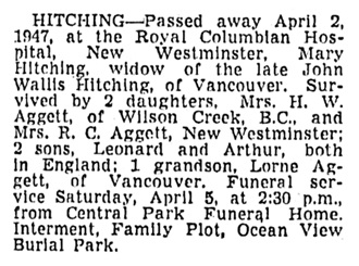 Mary Hitching - death notice - Vancouver Sun - April 3 1947 - page 19 - column 2