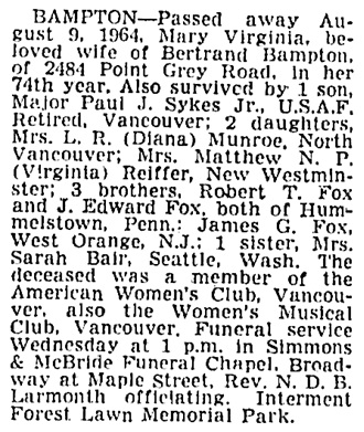 Mary Virginia Bampton - death notice - Vancouver Sun - August 11 1964 - page 23 - column 2