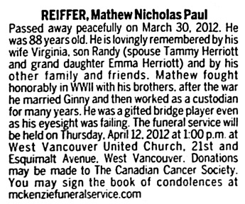 Mathew Nicholas Paul Reiffer - death notice - Vancouver Sun - April 7 2012 - page E10 - column 4