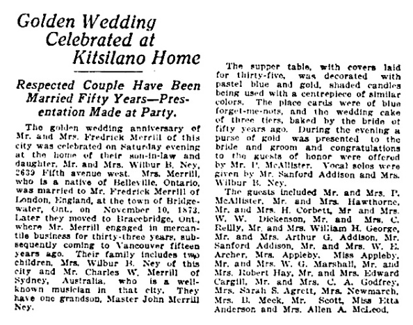 Mr and Mrs Frederick Merrill - golden wedding aniversary - Vancouver Province - November 12 1923 - page 8 - column 6