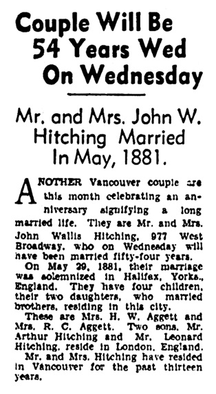 Mr and Mrs John Wallace Hitching -54th wedding anniversary - Vancouver Province - May 23 1935 - page 11 - column 1