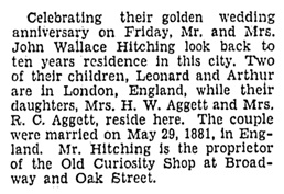 Mr and Mrs John Wallace Hitching - golden wedding anniversary - Vancouver Sun - May 30 1931 - page 18 - column 4