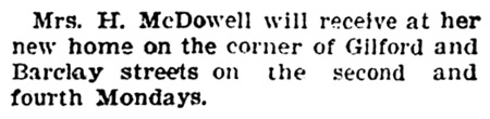 Mrs H McDowell - new home - corner of Gilford Street and Barclay Street - Vancouver Province - August 8 1903 - page 8 - column 4