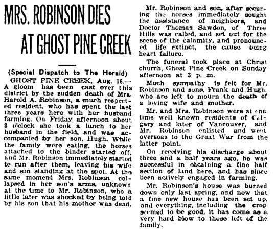 Mrs Harold A Robinson - death - Ghost Pine Creek - Calgary Herald - August 17 1921 - page 4 - column 8