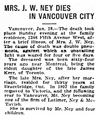 Mrs J W Ney - obituary - Victoria Daily Times - January 28 1919 - page 2 - columns 1-2