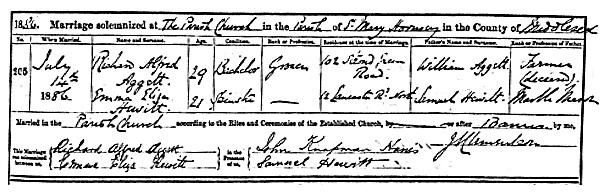 Richard Alfred Aggett and Emma Eliza Hewitt - marriage date - July 14 1886