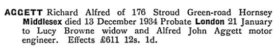 Richard Alfred Aggett - death date - December 13 1934